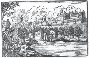 Imatge obtinguda del llibre Pronostich catala historic, geografic, astronomic, instructiu y religios per lo any 1847. Representa la crema de Manresa del 30 de març de 1812.