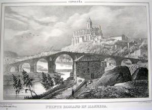 """""""PUENTE ROMANO EN MANRESA"""" de F.J.Parcerisa. (Font: Biblioteca Nacional de España)"""