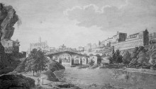 Vista de Manresa. Gravat en planxa de coure cap el 1820 d'un dibuix de Moulinier. Gravat per Dequevauviller.