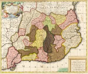 Mapa de Catalunya de Gerard Valck (Amsterdam, 1651 – 1726). Amb el Decret de Nova Planta, s'implantarien els corregiments, una divisió administrativa de Castella.