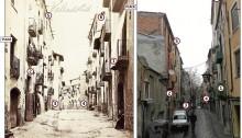 1) Balcó de ferro fos que es pot veure en ambdues imatges. 2) Dovella, obertura. 3) Reculada esquerra ben visible en les dues imatges. La llei d'ordenació de carrers és de final del segle XIX. 4) Reculada a la dreta, a l'entrada del carrer de l'Aiguader, que, com explica Francesc Comas, «no se sap el perquè del nom», però que remet a passar o portar aigua. 5 i 6) Les golfes, les obertures superiors, on es penjava el blat de moro, els cereals... Com expliquen Comas i Jordi Bonvehí, les Escodines era un barri pagès de ciutat. 7) La font de Sant Antoni que el 2004 encara hi era. A la imatge actual es pot veure l'oratori de Sant Antoni, a la cantonada del carrer de les Escodines amb Sant Antoni. Les plaques. Són de l'Aseguradora de Incendios La Unión Manresana, que seria l'origen, recorda Comas, de la Mútua Manresana. Carrer de les Escodines. «Una mica més amunt hi ha el puig o coma de Sant Bartomeu. Aquest tram del carrer de les Escodines era el camí ral de Manresa cap a Barcelona pel coll de Daví», explica.